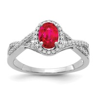 14k White Gold Oval Ruby and Diamond Halo Twist Ring
