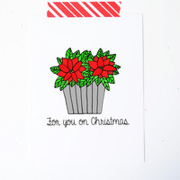 Poinsettia Christmas card holiday xmas red green - for you on Christmas greeting card little sloth card