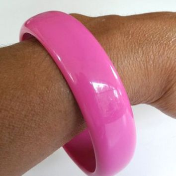 "Vintage Hot Pink Lucite Bangle Bracelet 11/16"" Wide"