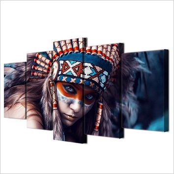 Native American Colorful Indian Woman Canvas