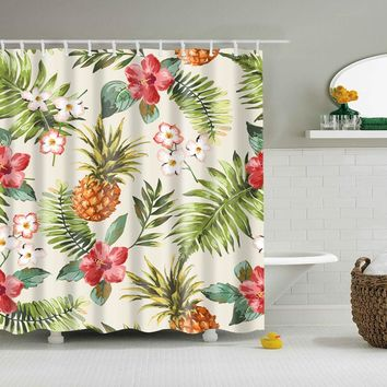 Pineapple And Flower Shower Curtain