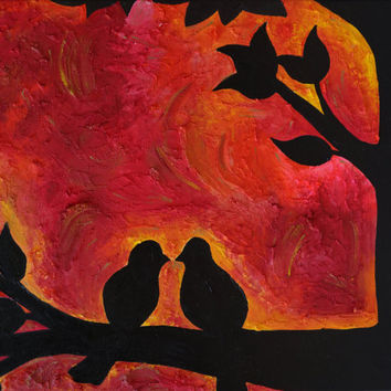 11x14 PRINT Sunset Love Birds Abstract Art