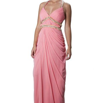 JS Collections - 863592 Bejeweled Halter Draped Dress
