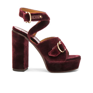 Chloe Velvet Kingsley Sandals in Bordeaux | FWRD