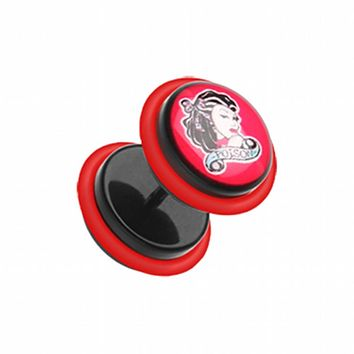 Poison Pin-up Girl Acrylic Fake Plug with O-Rings