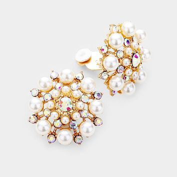 Crystal Clustered Pearl Clip On Earrings