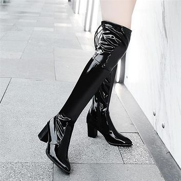 Black Over Knee Patent Leather High Heel Boots