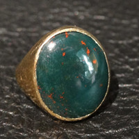 Vintage Bloodstone 14K Gold Ring Circa 1910