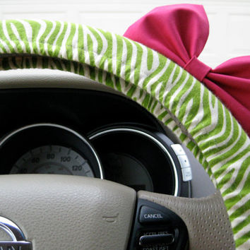 The Original Lime Green Zebra Steering Wheel Cover with Matching Bright Brink Pink Bow