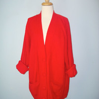 Vintage 80s Red Cardigan Sweater Slouchy Oversized Ribbed Soft Acrylic Large