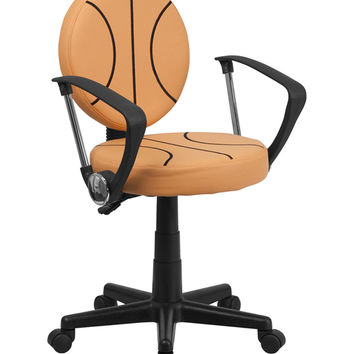 Flash Furniture Mobile Adjustable Basketball Style Computer Home Office desk Vinyl Task Chair with Arms