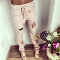 New Fashion Summer Plus Size Solid color Womens Harem Pants Nineth Capris Casual Trousers