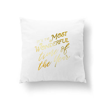 It's The Most Wonderful Time Of The Year, Cushion Cover, Christmas Decor, Bed Decor, Throw Pillow, Gold Pillow, Xmas Gift, Home Decor