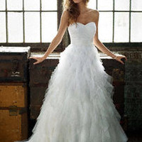Strapless Dot Tulle Ball Gown with Ruffle Skirt - David's Bridal