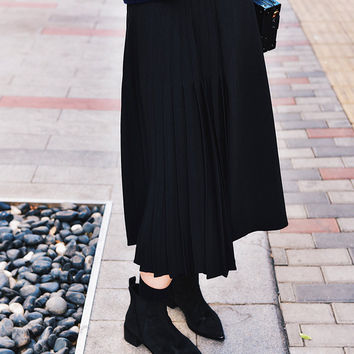 Half Pleated Midi Skirt