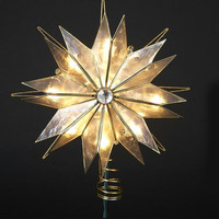 Star Christmas Tree Topper - 1- Clear Bulbs On Green Wire