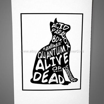 Schrodingers cat poster print | Silhouette Schrodingers cat | Science geek poster