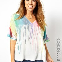 ASOS CURVE Top With Plunge Neckline In Melting Rainbow Print
