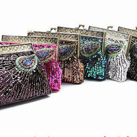 Handmade Sequined Beading Peacock Clutch,Evening Bag,Party Bag,Free Shipping