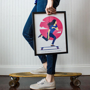 Girl Power Wall Art, Free in Her Wildness, Girl Print, Skater Girl Print, Quote Print, Home Decor, Gift for Her, Wall Decor, Blue Pink 12x16