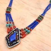 Tibetan Nepali Necklace,Lapis Pendant,Turquoise,Beaded Necklace,Ethnic,Bohemian Necklace,Nepali Jewelry,Gypsy Boho Necklace,Hippie Necklace