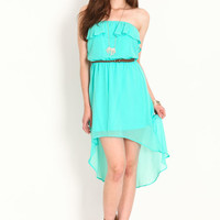 STRAPLESS RUFFLE CHIFFON DRESS