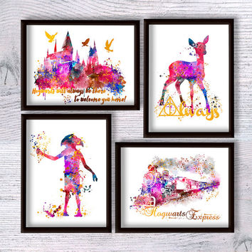 Harry Potter art print Set of 4 Harry Potter real foil poster Wall hanging art Harry Potter decor Kids room wall art Baby shower gift G202