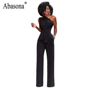 Abasona 2018 Black Office Work Rompers Womens Jumpsuit Sexy One Shoulder Sleeveless Belted Jumpsuit Summer Casual Overall Female