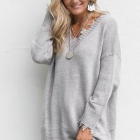 Big Talk Heather Gray Shredded Sweater Dress