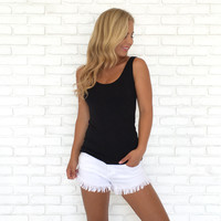 Double Scoop Jersey Tank In Black