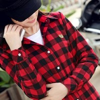 Juanshi Women's Check Flannel Shirt Color Red & Black