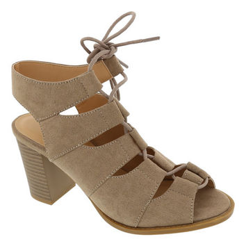 Dark Taupe Lace-Up Palm Sandal