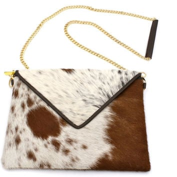 Leather clutch, Handmade hair on hide - Cowhide Leather Crossbody Clutch - perfect for adding Stones or embellishments