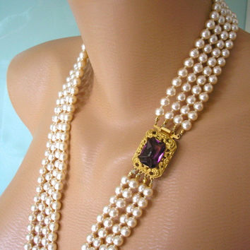Backdrop Bridal Necklace, Pearl Backdrop Necklace, Amethyst Necklace, Bridal Jewelry, Long Pearl Necklace, Great Gatsby, Cream Pearls