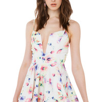 Floral Strappy Notched V-Neck Skater Dress