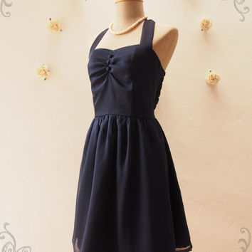 BLOOM : Midnight Blue Dress Navy Halter Dress Fancy Navy Bridesmaid Dress Cocktail Party Dress Wedding Prom Dress -Size XS,S,M,L,XL, Custom