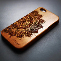 Cherry Wood Mandala iPhone 6 plus 6 5c 5s 5 4 4s Case - Custom Numbers & Initials - iPhone 6 6 plus Case Wood - Wooden iPhone 6 plus 6 Case
