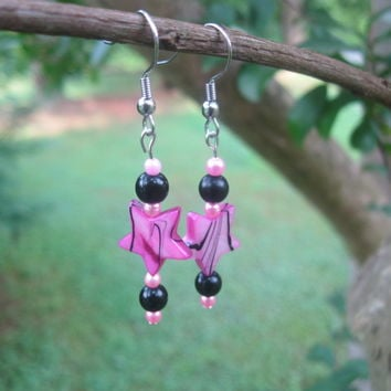 Pink Star Earrings - Handmade Jewelry
