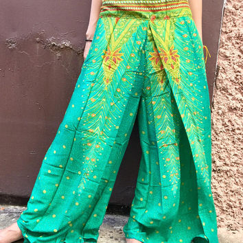 Mandala Festival Hippie Palazzo pants Front high Slit Bohemian Boho chic clothing Gypsy Vegan fashion Paisley pants outfit Vegan Gift women