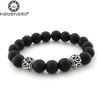Men's Handmade Charm Bracelet Crystal Matt  Beaded Bracelets for Male Vintage Black Onyx Natural Stone Jewelry