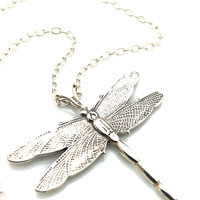 Dragonfly Necklace, Retirement Gift, Silver, Anniversary, Nature, 25th Wedding Anniversary