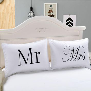 Cool LFH Mr and Mrs Pillow Cases Couple Pillowcases Personalized Pillow Cover For Anniversary Wedding Gift Queen King SizeAT_93_12