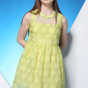 Fluorescent Yellow Shape Embroidered Mesh and Lace Skirt