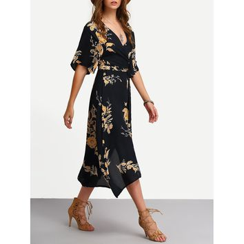 Multicolor Deep V-Neck Floral Print Wrap Dress