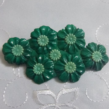 Deco Era Early Plastic Statement Brooch Large 1930's Emerald Green Floral Pin Vintage Celluloid Floral Brooch Minty Green Center Flowers