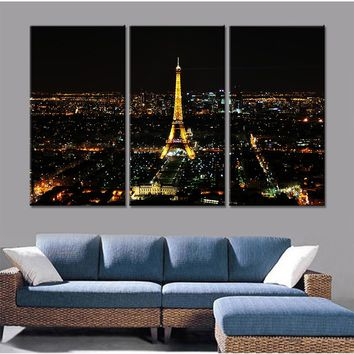 HD Printed Modern Canvas Painting Wall Art 3 Panel Paris Night View Modular Poster Framework Pictures Home Decor Living Room