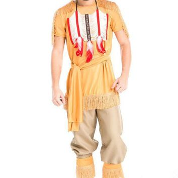 DCCKH6B Halloween Party Cosplay Adult Native Red Indian Man Brave Warrior Chief Up Cowboy Costume Primitive Savage Men Chiefs Clothing