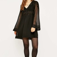 Staring at Stars Embroidered Bell Sleeve Dress - Urban Outfitters