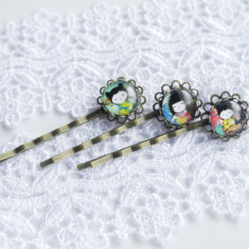Hair Clip, Japanese Dolls, Kokeshi Dolls, Bobby Pin, Asian Girls, Teens Hair Clip, Hair accessories, Gift for Her, Birthday Gift, Set of 3,