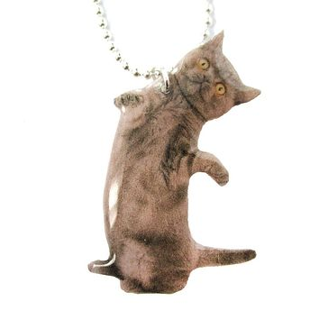 Realistic Grey Kitty Cat Stretching on Hind Legs Shaped Pendant Necklace